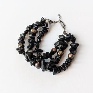 Jewelry - 3 Strand Black Pearl And Stone Bracelet